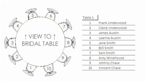 wedding reception seating chart template  tables