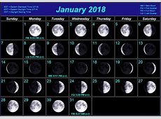 Free January Calendars 2018 With Full Moon Phases