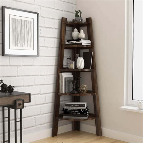 Contemporary Corner Bookcase by Cameroon Contemporary 5 Tiered Solid Wood Ladder Style