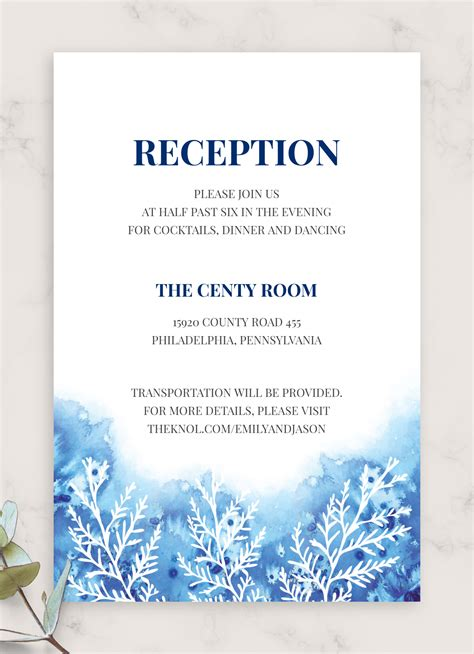printable frosty winter wedding reception card