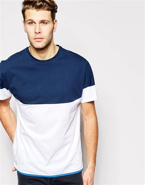 color block t shirt lyst youth yoke color block t shirt in blue for