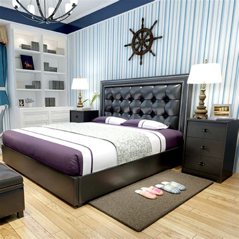modern design soft bed bedroom furniture bed bedside