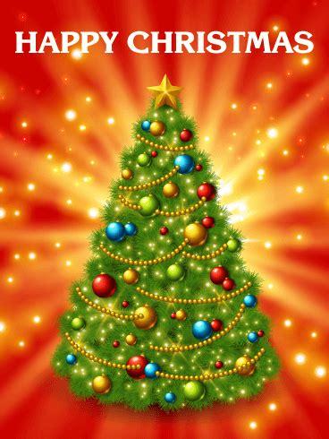 super shining christmas tree card birthday greeting