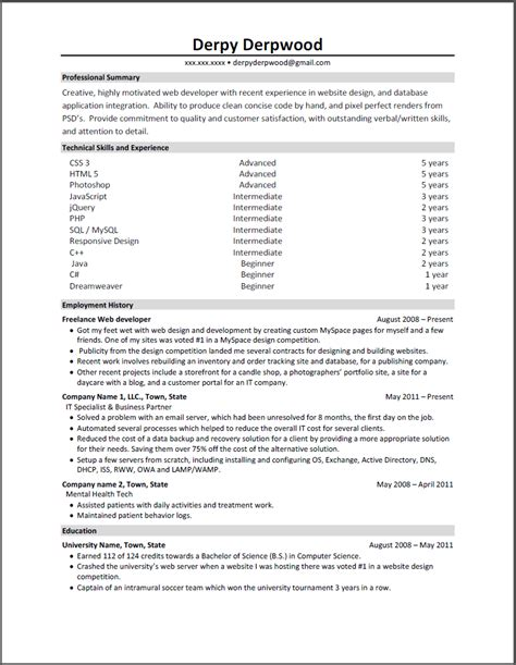 critique front end web developer resume needs help