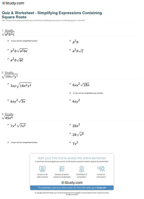 quiz worksheet simplifying expressions containing square roots study
