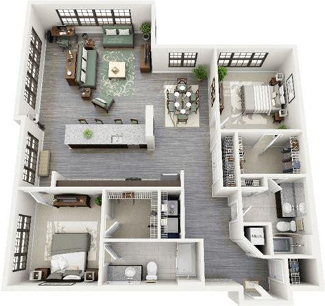appartement 3 chambre 50 plans 3d d 39 appartement avec 2 chambres