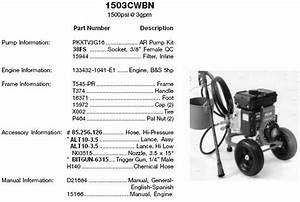 Devilbiss Excell Pressure Washer Model 503cwbn  Ar  Parts