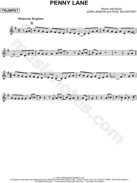 beatles penny lane sheet  trumpet solo