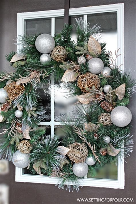 green ornaments balls wreath ideas town country living