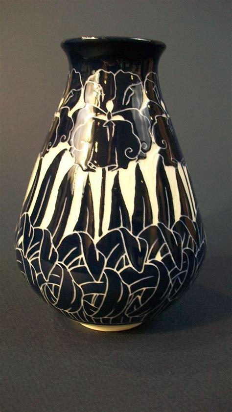 iris vase ken tracy pottery nouveau sgraffito flowers