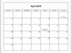 April 2018 Calendar Printable with Holidays PDF and JPG