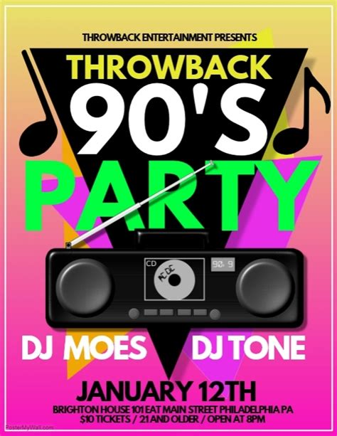 90s invitation template 90s template postermywall