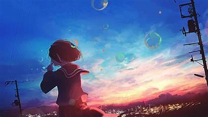 Anime 4k Sunset Scenery Bubbles Wallpapers Mocah