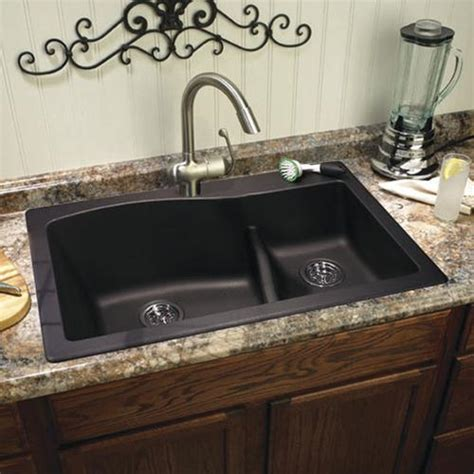 swan dual mount  granite composite double bowl kitchen
