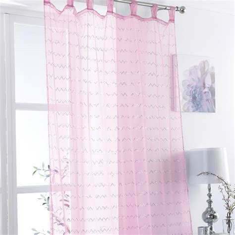 tab top voile net curtain panel zig zag sequins bed room