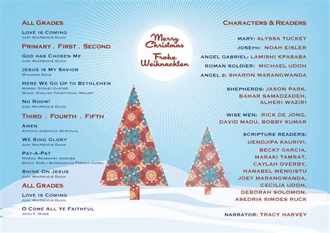 icsv elementary christmas concert program love came down
