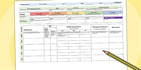 literacy weekly planning template teacher