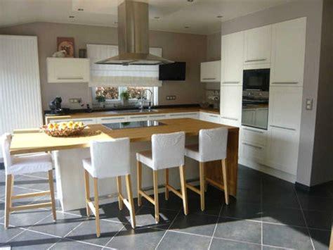 ilot central cuisine avec table escamotable idee decoration