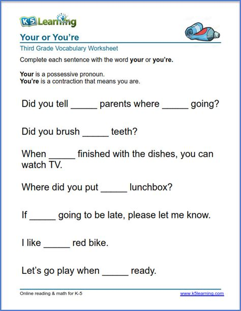 grade 3 vocabulary worksheet use your or you re k5