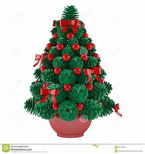 Christmas Toy Tree Made Of Cones With Red Toys Stock Image ...