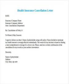 cancellation letter for health insurance sle 28 images