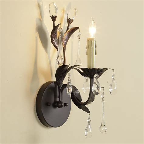 crystal drop sconce 1 light wall sconces by shades