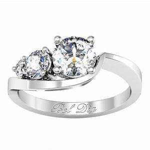 tapered asymmetrical three stone engagement ring With asymmetrical wedding rings
