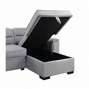 Jaxon, Light, Gray, Fabric, Sleeper, Sectional, Sofa, With, Storage, Chaise