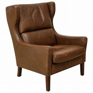 High, Back, Danish, Leather, Lounge, Chair, In, The, Style, Of, Borge, Mogensen, At, 1stdibs