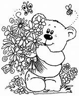 Coloring Flowers Bouquet Bear Printable sketch template