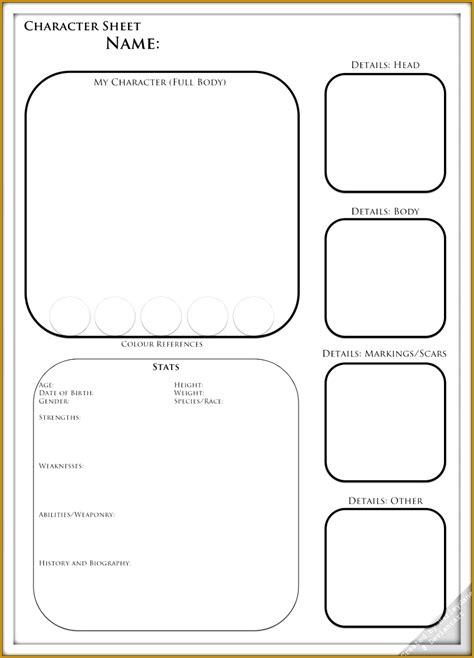 character profile sheet template fabtemplatez