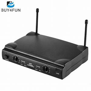 Uhf Dual Channels Wireless Microphone Mic System With 2