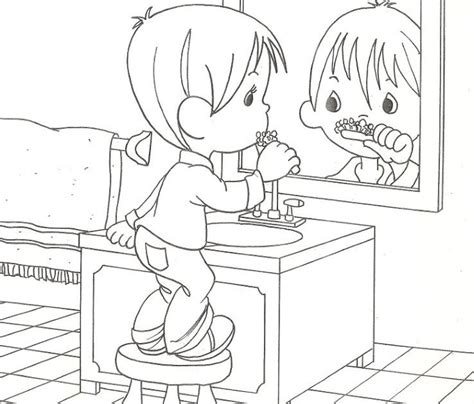 Child washing or brushing teeth free coloring pages