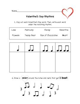 Valentine's Day Music Rhythm Worksheet By Christine Larsen Tpt