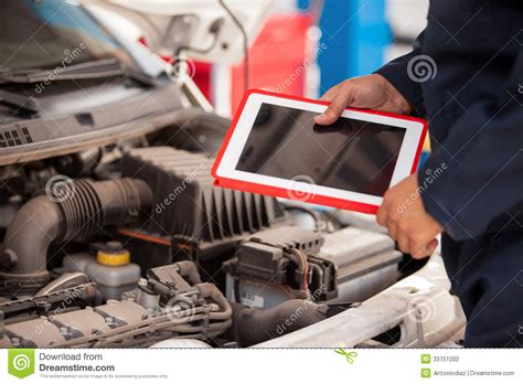 tablet computer  auto shop stock photo image