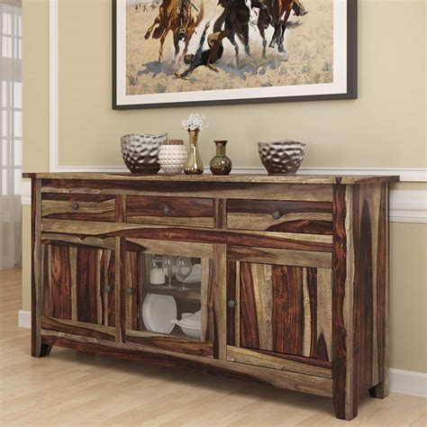 frisco modern rustic solid wood glass door  drawer large
