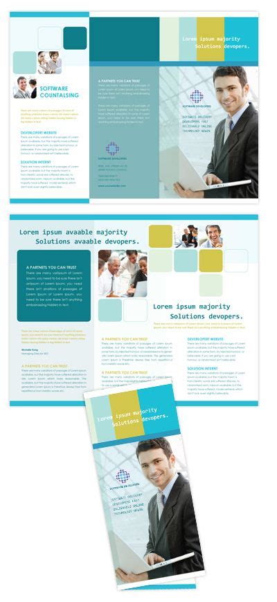 software product brochure template to be colors and blue and on