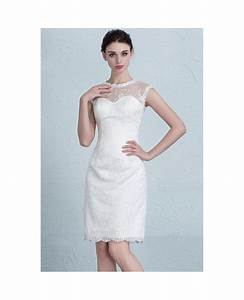Elegant tight short wedding dresses reception modest lace for Scoop neck sheath wedding dress