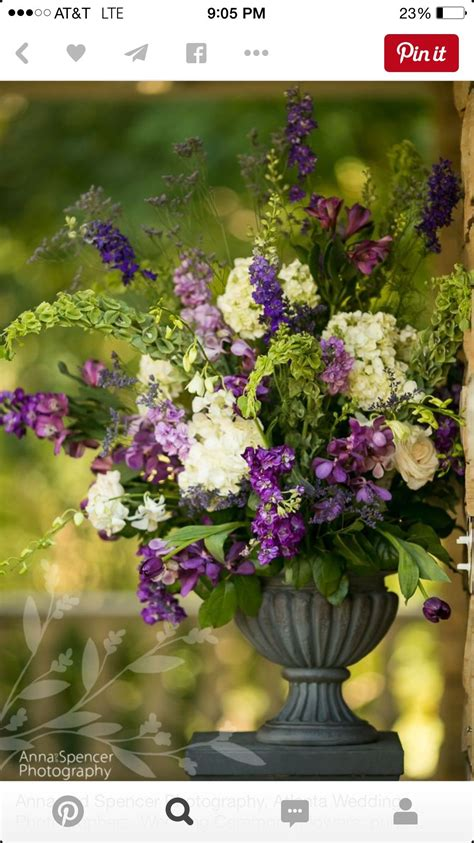 Large Tabletop Urn Arrangement With Purple, Green And