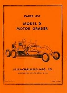 Allis Chalmers D Motor Grader Parts List Manual Ac