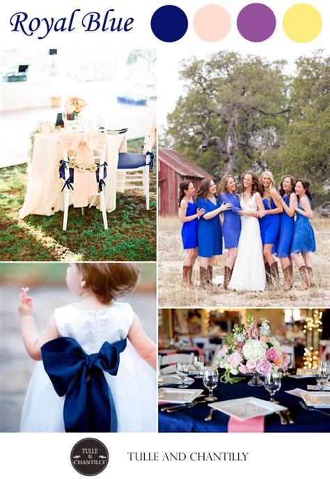 classic royal blue wedding color ideas and bridesmaid tulle chantilly wedding blog