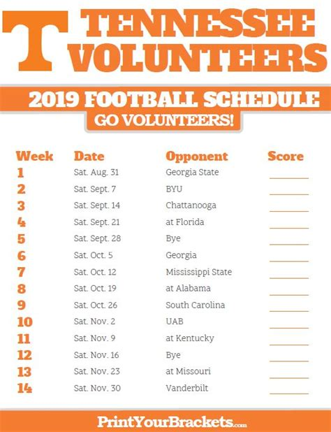 printable schedule   lady vols basketball