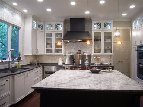 double kitchen island contrasting granite white fantasy