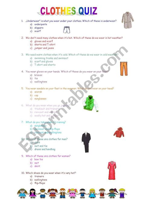 clothes quiz esl worksheet  katie