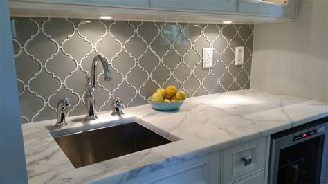 Glass Mosaic Tile Kitchen Backsplash by Taupe Arabesque Glass Mosaic Tiles Kitchen Kitchen