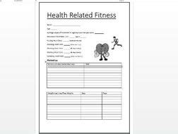 health related fitness worksheet key stage 3 and 4 by