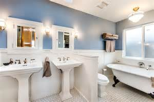 cape cod bathroom designs pedestal sink bathroom traditional with blue walls
