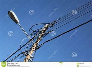 Lamppost With Wires Stock Photo - Image: 53698214
