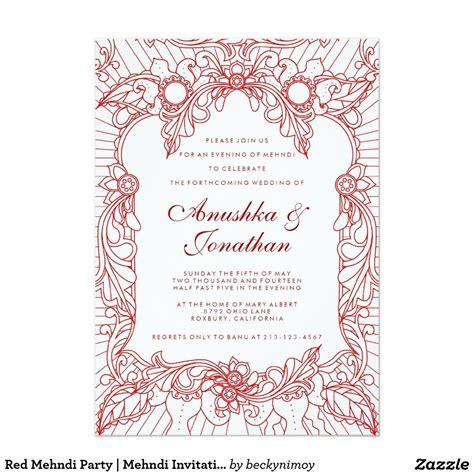 red mehndi party mehndi invitation zazzlecom