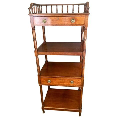 Etagere With Drawers by Refined 19th Century Mahogany Etagere With Two